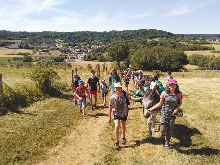 Groupe de jeunes en randonnée avec des ânes